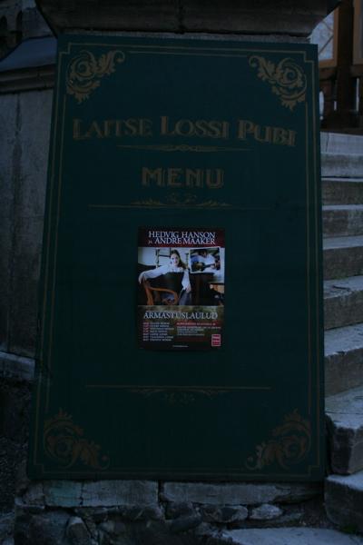 Laitse Lossi Pubi menüü. Head isu!